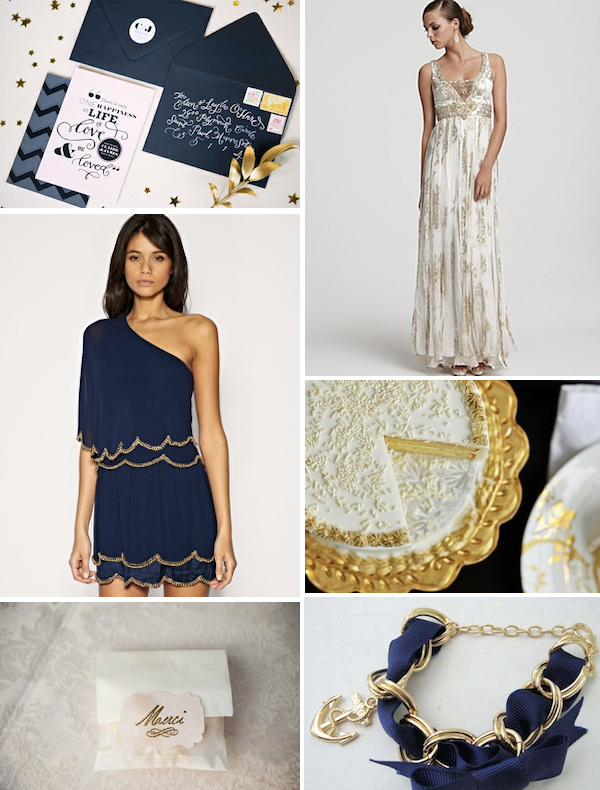 Navy Gold True Event Design Inspiration Board wwwtrueeventcom